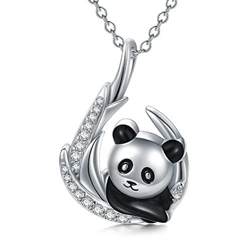 LONAGO Collar de panda de plata de ley 925 con colgante de oso de panda para mujer