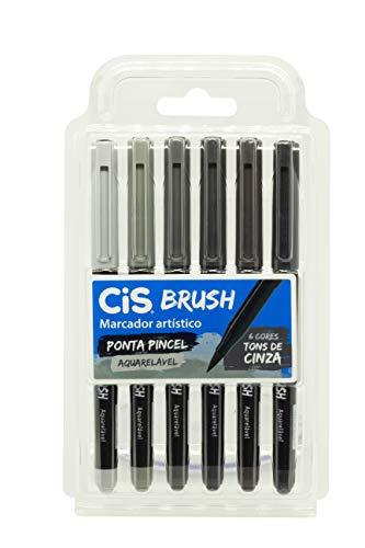 Marcador Artístico CIS Brush Estojo com 6 Cores Tons de Cinza