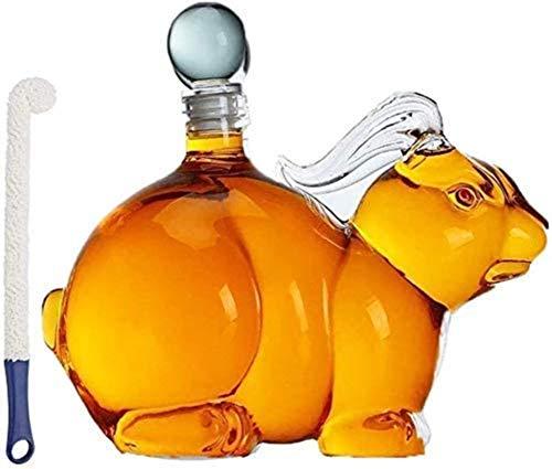 ZKZKK Decantador de Vino de Vino de cráneo y Gafas Set Forma Animal Whiskey Decanter Mano soplado Forma de Conejo Jarrafa con Tope Alto Vidrio de borosilicato, Oficina, Dormitorio, Sala de EST
