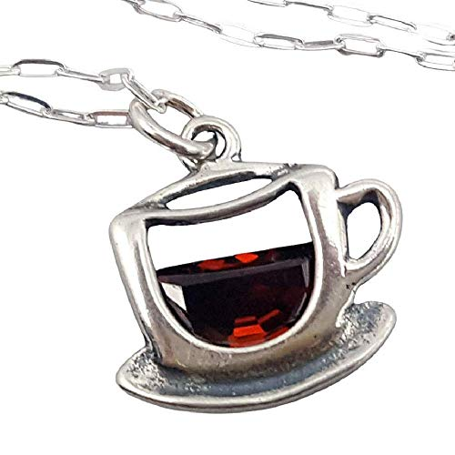 Sterling Silver Coffee Cup with Red Cubic Zirconia Charm Necklace, 18'