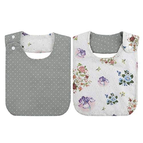 Leiouser - Toalla de algodón para bebé recién nacido, diseño de flores bordadas, para saliva, para niños y niñas