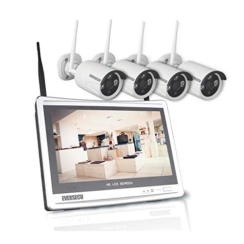 [8CH Expandable] 2K 3MP Home Security Cameras System with 12 Inch Monitor & NVR Combo Surveillance Kits, 8 Channel Cameras CCTV System with 4Pcs Wireless Video 3.0MP IP Cameras,Free APP(No HDD)