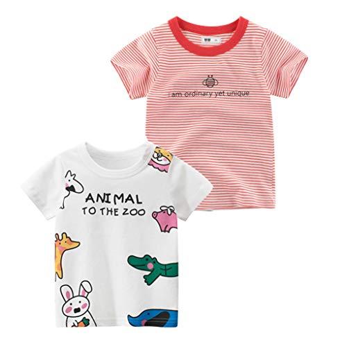 Tyidalin Pacco da 2 Maglietta Manica Corta Ragazze Cotone T-Shirt Cartone Animato Estate Top 1-7 Anni