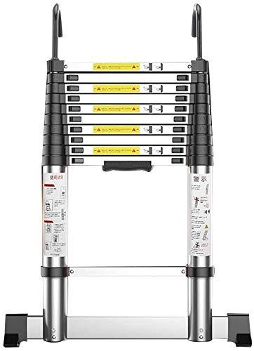 HUIQIN Folding ladder,Extension Ladder,Home Straight Ladder,Thick Folding Ladder,Aluminum Alloy Engineering Ladder,with Hook,Straight Ladder (Size : Straight ladder 3.05m(10 ft))