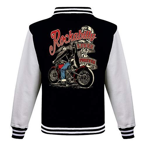 Gasoline Bandit Rockabilly Baseball College Jacke - Lives Forever 2XL