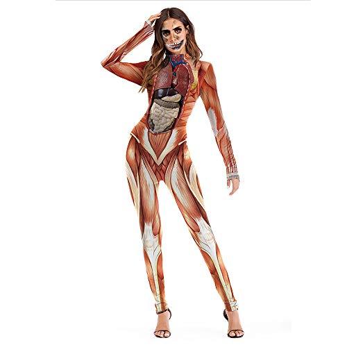 Disfraces de Halloween Fiesta de Noche Fiesta Disfraz de Etapa de Europa y América 3D Realista Estructura de Cuerpo Humano Impresión de Mamelucos Juegos de rol ES (Size : XL)