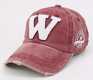 Quanshijie W Distress Baseball Cap for Men Women Adjustable Red