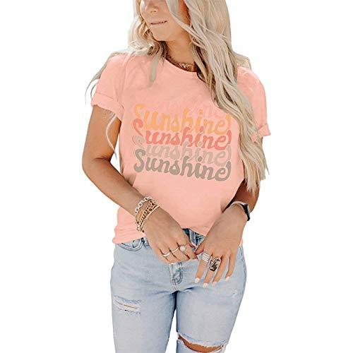 DREAMING-Tops Casuales de Primavera y Verano para Mujer Camiseta Holgada con Cuello Redondo Camiseta de Manga Corta con Cuello Redondo y Estampado de Letras XXL