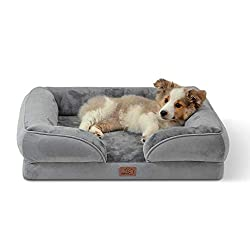 BEDSURE dog sofa crafted from orthopedic foam helps with joint pain and relieve pressure 3-sided pillow-like bolsters design furnishes hip and neck support for preferable comfort Dog beds manufactured by laminated Flannel plush with superior-excellen...