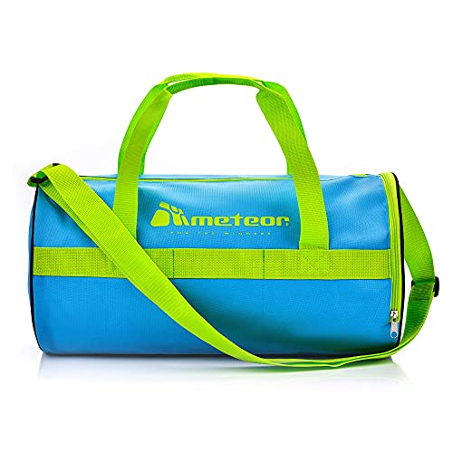 meteor Bolsa Deporte Viaje Gimnasio con Compartimento Separado para Zapatos Duffle Bag para Hombre Mujer Ultraligera Plegable Bolsa Deportiva 25 L Yoga Bolsa Fin de Semana (Azul/verde3, 25 L)