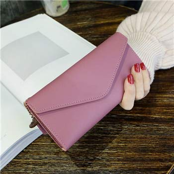 Xiaobing Cartera para Mujer Cuero de PU Multifuncional Portatarjetas de diseño Largo para Mujer Cartera Larga-Largo Rosa oscuro-D611