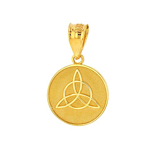 Dainty 10k Yellow Gold Irish Infinity Circle Celtic Trinity Knot Disc Pendant