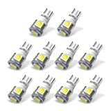 YITAMOTOR 194 168 T10 LED Bulb White for License Plate Light Car Interior Light, Non Polarity, W5W 2825 2827 T10 Wedge LED Light Bulb for Map Dome Trunk Door Courtesy Dash Light, 12V, 6000K, 10-Pack