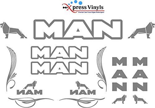 myrockshirt Großes Set Man Seitenscheibe Truck LKW Set Windschutzscheibe Logo Aufkleber,Sticker,Decal,Autoaufkleber,UV&Waschanlagenfest,Profi-Qualität