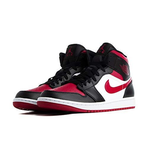 Nike Air Jordan 1 Mid, Zapatillas de básquetbol para Hombre, Black Noble Red White, 43 EU