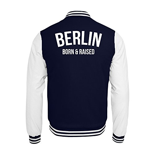 PlimPlom Berlin College Jacke In Dunkelblau/Weiß Hauptstadt Born & Raised (XXL)