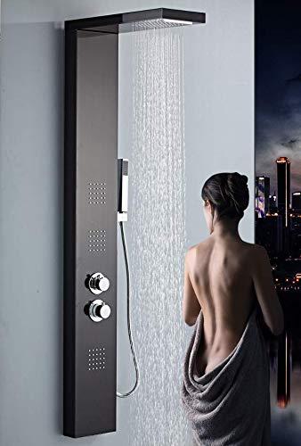 Generico Colonna Doccia idromassaggio, soffione a piogga, Effetto Cascata e doccetta, Miscelatore termostatico (Nero)
