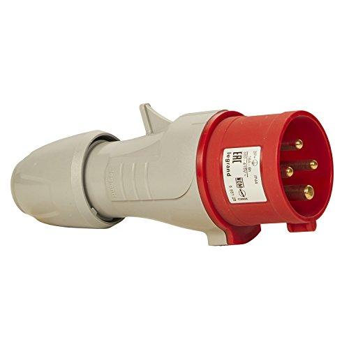 Legrand, CEE 16A Stecker, rot 4-polig (3P+PE), 6h (400V/16A), Schutzart IP44, IK09, 090104