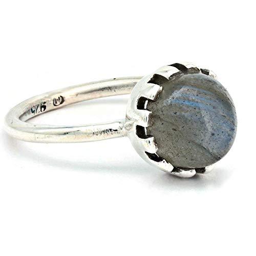 Ring 925 sterling zilver labradoriet steen (No: MRI 196)