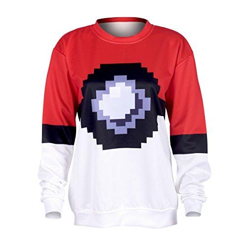 Damen Langarm Sweatshirt Bluse Pullover Full Print S-XL weiß mit rot Pokeball [038]