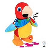 Hopearl Talking Parrot Repeats What You Say Walking Electric Interactive Animated Toy Speaking Plush Buddy Gift for Toddlers Birthday, 8''