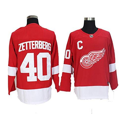 Yajun Henrik Zetterberg#40 Detroit Red Wings Eishockey Trikots Jersey NHL Herren Sweatshirts Atmungsaktiv T-Shirt Bekleidung,Red,L