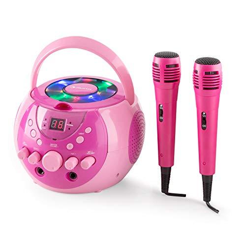 Auna SingSing - Set Karaoke, 2 Microfoni Dinamici, Lettore CD, Top Loader, Effetto Eco, Funzione A.V.C, Uscita Video, LED Multicolore con Effetto Luce, Fucsia