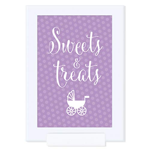Andaz Press Baby Shower Framed Party Sign, Double-Sided 4x6-Inch, Sweets & Treats, Girl Baby Shower Lavender Rattles Carriage, 1-Pack, Includes Frame