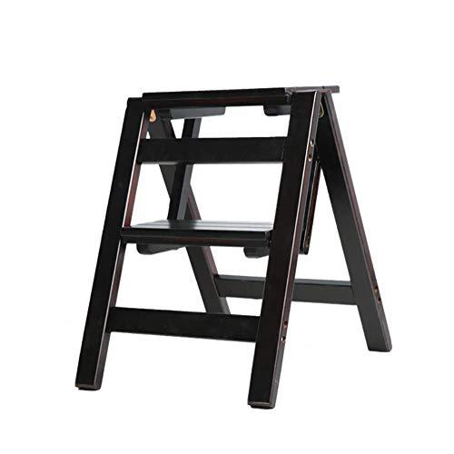 HIGHKAS Taburete Plegable de 2 escalones Taburete multifunción Taburete de Doble Uso Silla de Escalera para el hogar Escalera de Madera Maciza (Color: Negro)