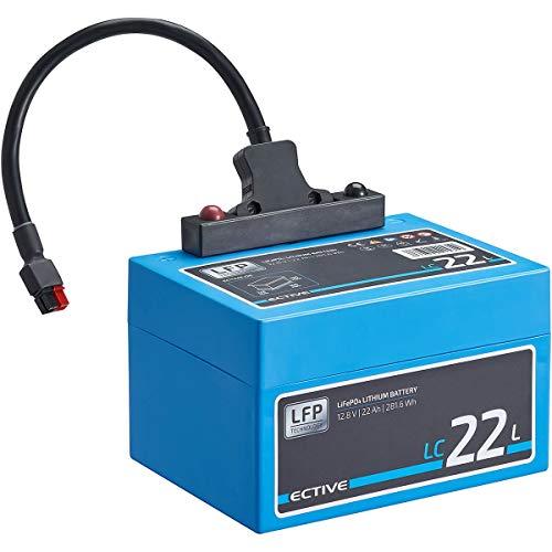 ECTIVE LC22L 12V 22Ah 281,6Wh für 27 Loch Golf-Trolley LiFePo4 Lithium-Eisenphosphat Versorgungs-Batterie mit BMS