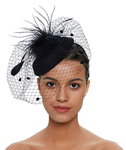 Zivyes Fascinator Hats for Women Pillbox Hat with Veil Headband and a Forked Clip Tea Party Headwear (1-1-Black)