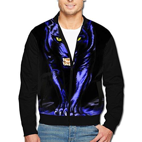 Carolina Panther Drawing Jacket for Men Casual Fashion Zipper Winter Coat Black