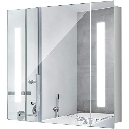 25 Inch LED Mirror Medicine Cabinet, LED Lighted Bathroom Wall Cabinet, Bathroom Medicine Cabinet with Mirror, Polished Stainless Steel, Wiring Power Supply, On/Off Button