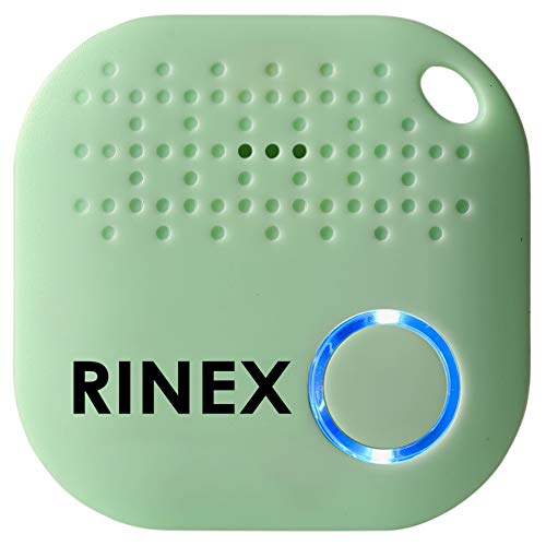 Bluetooth Key Finder – Key Locator Device with App, Siri Compatibility, Extra Battery – Anti-Lost GPS Keychain Tracker Device for Phone, Luggage, Backpack, Wallet – GPS Tracking Chip Tags by Rinex