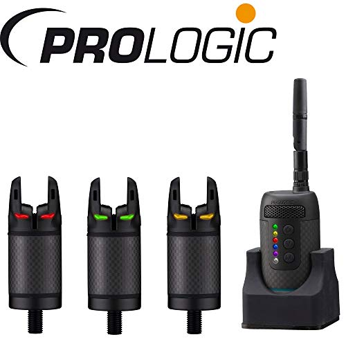 Prologic K3 Bite Alarm 3+1 Bissanzeiger + Receiver zum Karpfenangeln und Raubfischangeln, Karpfenbissanzeiger + Empfänger