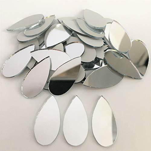 1 pulgada x 1/2 pulgadas forma de lágrima espejo mosaico azulejos pequeños artesanía espejo a granel 150 piezas