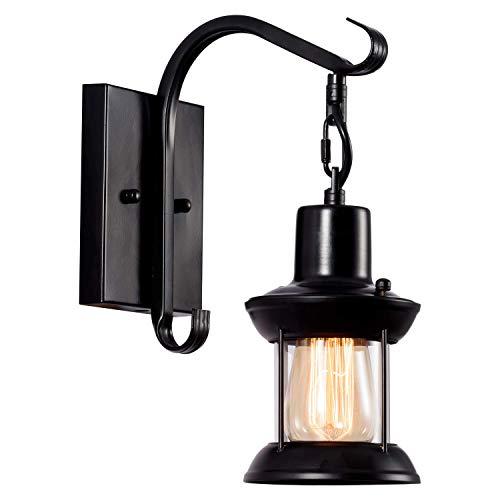 Wandlampe Antik Wandleuchte Vintage Metall Wandlampe Retro Glas Wandlampe Innen für Lanhaus, Dachboden, Terrasse, Restaurant, Café, Wohnzimmer und Studie (Schwarz)