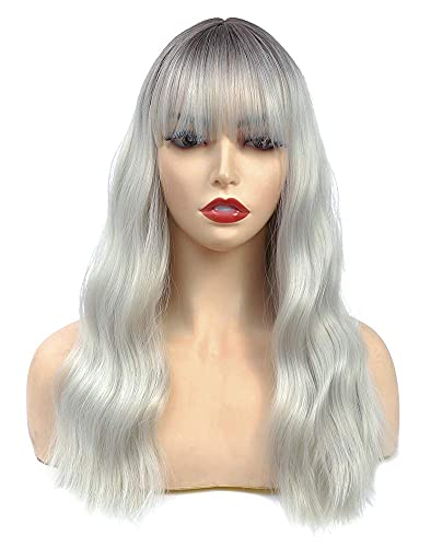Ombre Gray Wigs for Women Wigs with Bangs Medium Long Wavy Curly Wigs Natural Synthetic Hair Wigs for Daily Party 18 inch