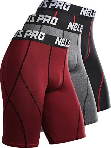 Neleus Men's 3 Pack Sport Running Compression Shorts,6012,Black,Grey,Blue,US M,EU L