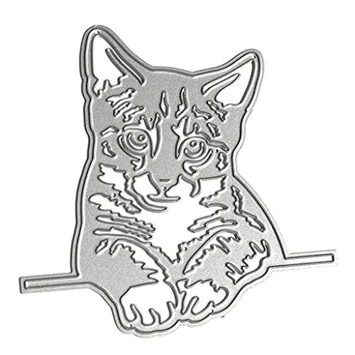 WuLi77 Faule Liegende Katze Stanzschablone Die Stanzen Cutting Dies, Metall Stanzbögen Prägeschablone Für Scrapbooking, DIY Album, Karten, Card Making