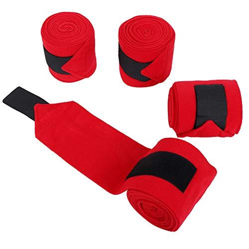 Annjom Leichter roter tragbarer atmungsaktiver Fleece-Pferdeverband, 4-teiliger Wickelverband für Knöchelverstauchungen