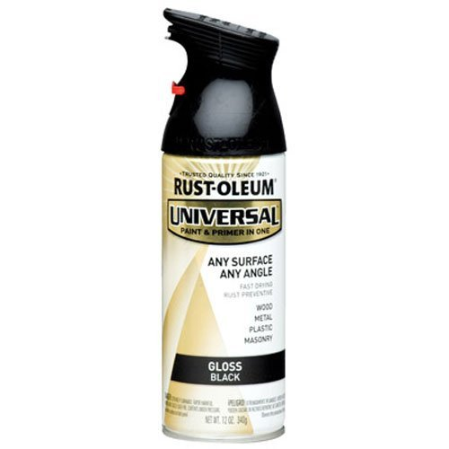 Rust-Oleum 245196 Universal All Surface Spray Paint, 12 oz, Gloss Black