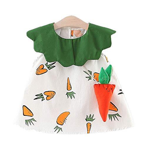Battnot Mädchen Kleinkind Scherzt Kinder Baby Sommer Kleid+Karotten Tasche 2 Stück Schön Rüschen Patchwork Ärmelloses Druck Party Prinzessin Kleidung Outfits Geschenk 2-3 Jahre 6 12 18 24 Monate
