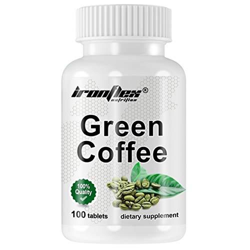 IronFlex Green Coffee Paquete de 1 x 100 Tabletas - Extracto de Semilla de Café Verde - Coffea Arabica - Ácidos Clorogénicos - Suplemento Dietético - Adelgazante - Quemador de Grasa