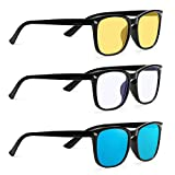 ONKE 3 Pack Blue Light Blocking Glasses Computer Gaming Glasses Eyeglasses Frame Anti Blue Ray for Men Women(Bright Black)