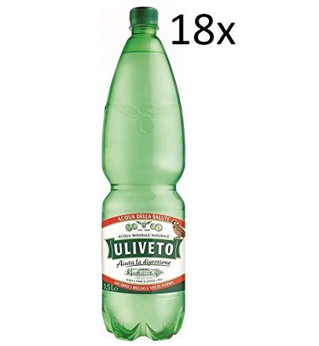 18x Uliveto Acqua Minerale Effervescente Naturale Mineralwasser sprudelnd natürliche PET 1,5Lt Italienisches Wasser hilft bei der Verdauung
