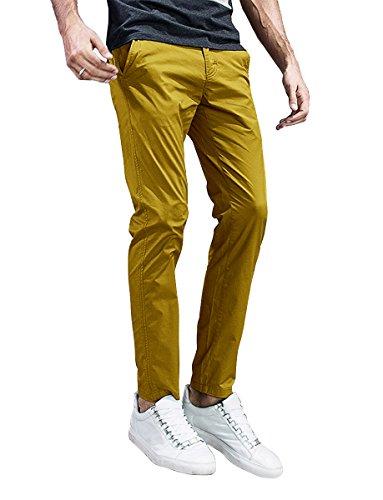 Match Mens Slim-Tapered Flat-Front Casual Pants (36, 8105 Khaki Yellow)