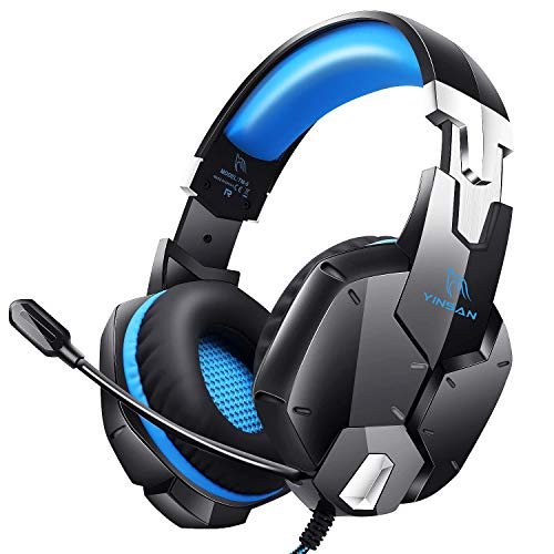 Auriculares Gaming PS4, Cascos Gaming Premium Estéreo con Micrófono, Orejeras de Memoria Suave, Gaming Headset con Control de Volumen para PC/Xbox One/Nintendo Switch/Móvil/Mac