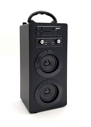 Mini Torre Portátil Belson PBSL-14 + Micrófono con Cable + Mando a Distancia - Altavoz Bluetooth, Potencia 10W, Reproductor MP3, Entrada USB, Lector SD, Karaoke, Radio FM, Batería 1000 mAh, Negro