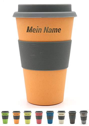 BambooYou Magu personalisierter Coffee to go Becher mit Namen Bambus Namensbecher - Individuelle Namensgravur- Lasergravur 465 - naturorange